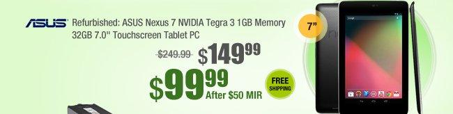 "Refurbished: ASUS Nexus 7 NVIDIA Tegra 3 1GB Memory 32GB 7.0"" Touchscreen Tablet PC"