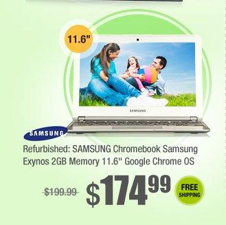 """Refurbished: SAMSUNG Chromebook Samsung Exynos 2GB Memory 11.6"""" Google Chrome OS"""