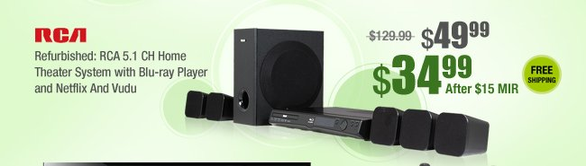Refurbished: RCA 5.1 CH Home Theater System with Blu-ray Player and Netflix And Vudu