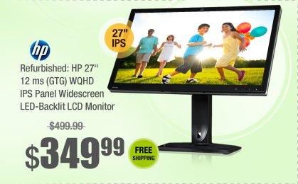 "Refurbished: HP 27"" 12 ms (GTG) WQHD IPS Panel Widescreen LED-Backlit LCD Monitor"
