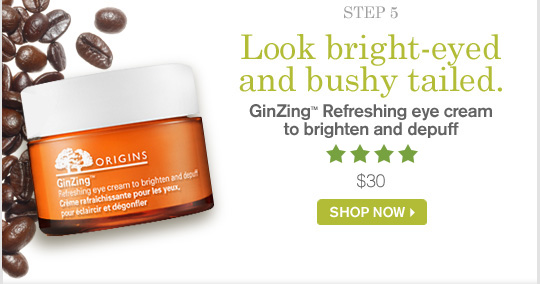 Look bright eyed and bushy tailed GinZing Refreshing eye cream to brighten and depuff 30 dollars SHOP NOW