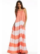 Elan Flowy Halter Maxi Dress in Melon