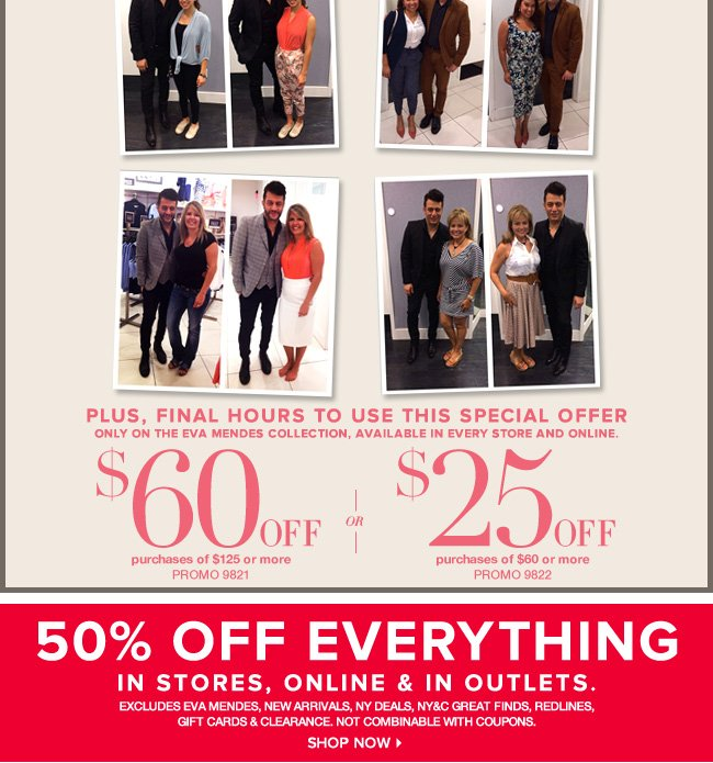 50% Off Everything In Stores, Online, & In Outlets!