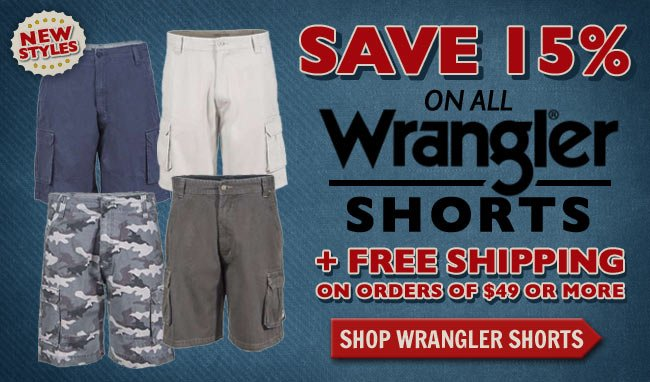 Get 15% OFF All Wrangler Shorts + FREE Shipping This Week!