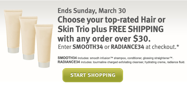 choose your top-rated hair or skin trio plus free shipping with any order over $30. shop now.
