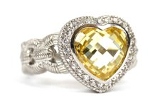 Heart Shaped Canary Crystal Ring