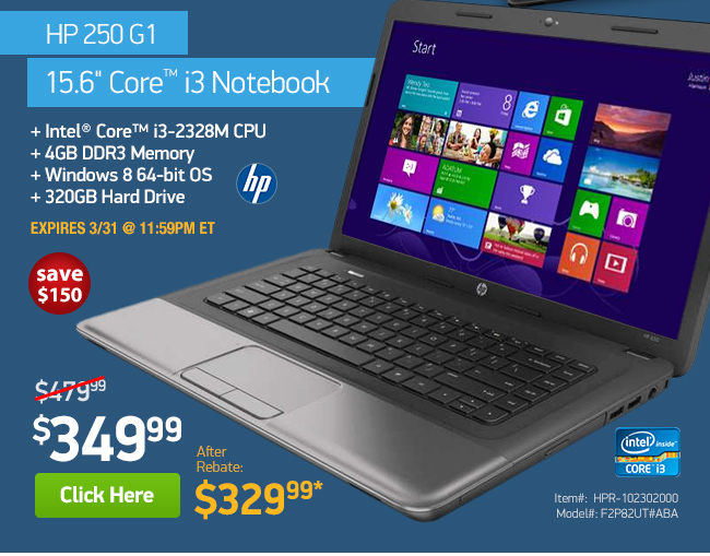 HP 250 G1 4GB Core i3 Laptop