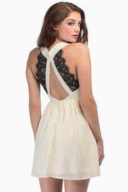 Deep V Lace Back Dress $0