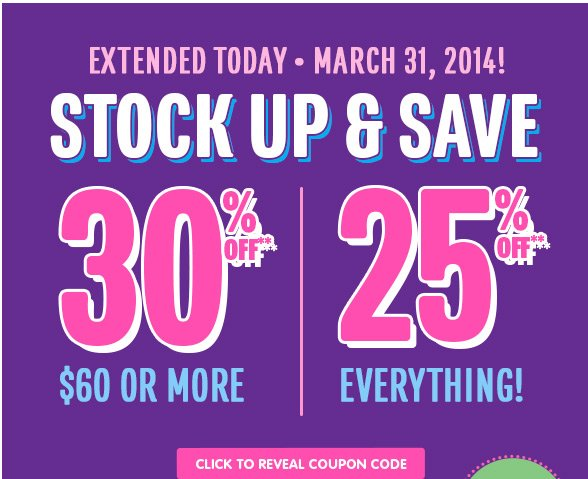 STOCK UP & SAVE!