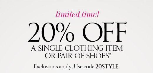 20% Off A Single Clothing Item Or Pair Of Shoes