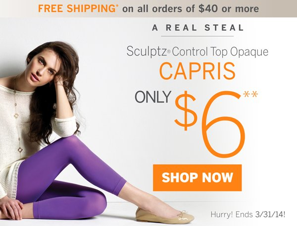 Sculptz Control Top Opaque Capris are only $6