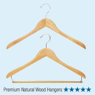 Premium  Natural Wood Hangers - 5 Stars »