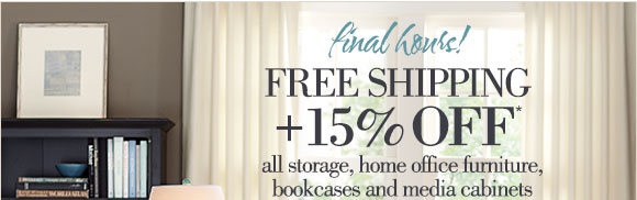 final days! | FREE SHIPPING + 15% OFF* all storage & organization, bookcases & home office furniture