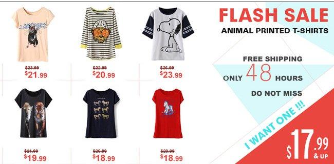 Flash Sale, Animal Printed T-shirts, Free Shipping