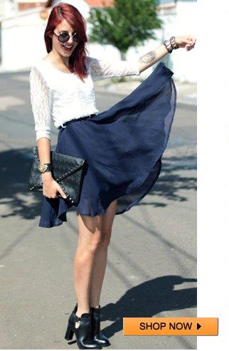 Lace Upper White Skater Dress