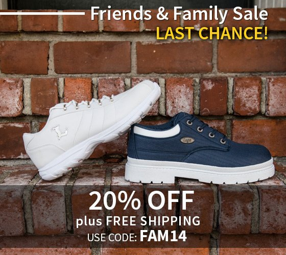 Friends & Family 20% Off + Free Shipping