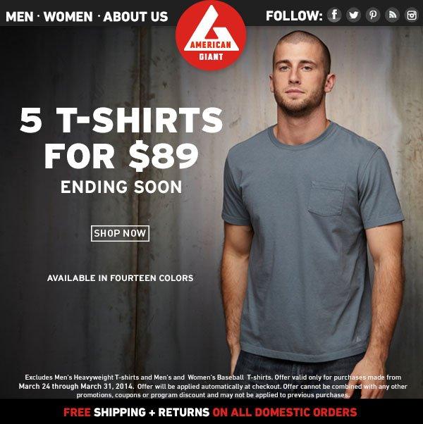 Last Day: 5 T-Shirts, 89 Bucks.