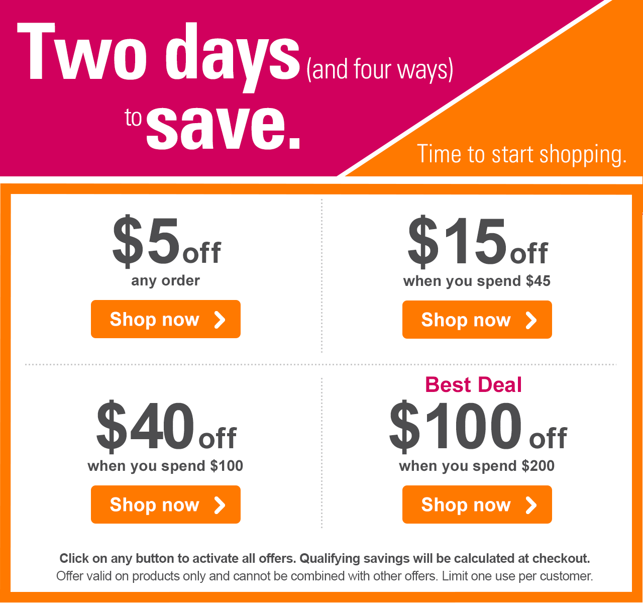 Two days (and four ways) to save. Time to start shopping.  $5 off any order Shop now › - $15 off when you spend $45 Shop now › - $40 off when you spend $100 Shop now › - Best Deal - $100 off when you spend $200 Shop now › Click on any button to activate all offers. Qualifying savings will be calculated at checkout. Offer valid on products only and cannot be combined with other offers. Limit one use per customer.