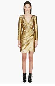 SAINT LAURENT Gold Long Sleeve Deep V Wrap Dress for women