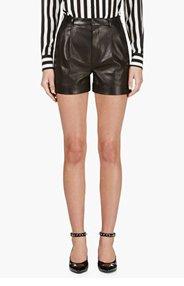 SAINT LAURENT Black Lambskin Pleated Shorts for women