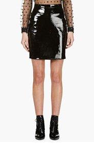 SAINT LAURENT Black Patent Leather Mini Skirt for women