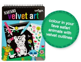 colour in your fave safari animals with velvet outlines