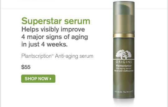 Superstar serum Helps visibly improve 4 major signs of aging in just 4 weeks Plantscription Anti aging serum 55 dollars SHOP NOW