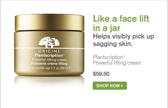 Like a face lift in a jar Helps visibly pick up sagging skin Plantscription Powerful lifting cream 59 dollars and 50 cents SHOP NOW