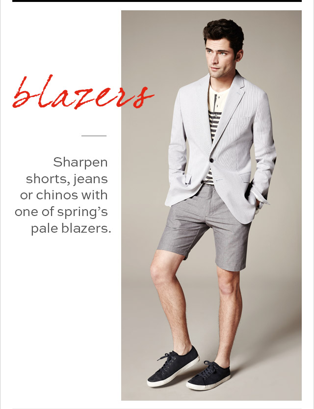 blazers | Sharpen shorts, jeans or chinos with one of spring's pale blazers.