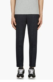 PAUL SMITH NAVY Slub CROPPED TROUSERs for men