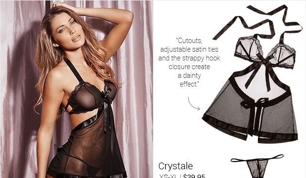 Cutouts, adjustable satin ties and the strappy hook closure create a dainty effect.