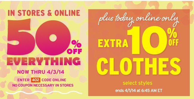 extra 10% off clothes