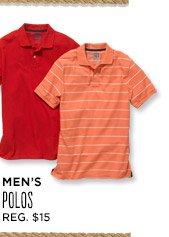 MEN'S POLOS   REG. $15