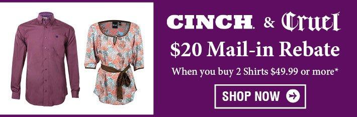 $20 Main-in Rebate on Cinch & Cruel