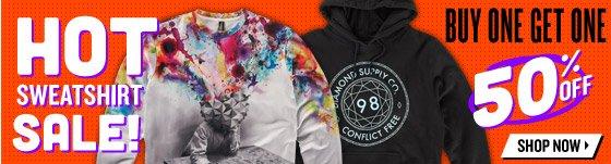 Select Sweatshirts: Buy One Get One 50% off!