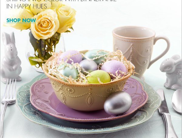 EGGCELLENT EASTER TABLES SPRING INTO COLOR WITH DINNERWARE IN HAPPY HUES SHOP NOW & Bed Bath and Beyond: Set your table for Easter dinner. Your 20 ...
