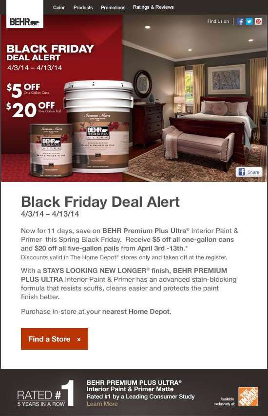 Behr Black Friday Deal Alert Get An Immediate Discount Upon Purchase Of Behr Ultra Interior