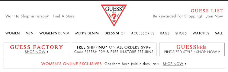 Guess Exclusive Offer Shop And Earn Up To A 75 Award Milled