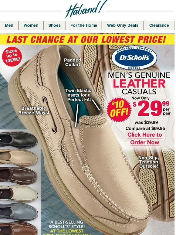 hot product fast delivery really cheap Haband: Lowest Price on Men's Dr. Scholl's® Leather Casuals! + a ...