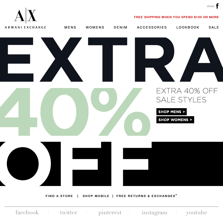armani exchange sale