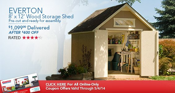 Everton 8u0027 x 12u0027 Wood Storage Shed. $1099.99 Delivered After $400 OFF. & Costo: Get Organized This Spring With Savings On Storage Sheds Wire ...