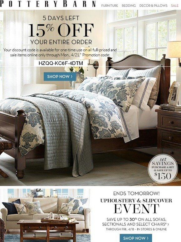 Pottery Barn 15 Off Your Entire Order Ends Monday Milled