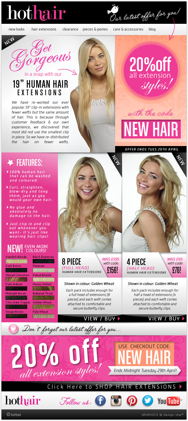 Hothair Get Gorgeous With New 19 Human Hair Extensions Save 20