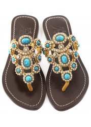 Las Palmas Gold & Turquoise Czech Crystal Jewelled Flat Sandals