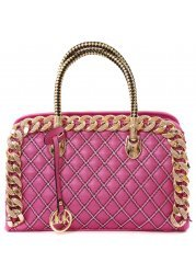 Madalyn Gold Chain Pink Faux Leather Quilted Handbag