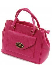 Pink Textured Faux Leather Top Handle Tote Bag
