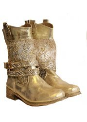 Sequin & Gold Crystal Strap Biker Style Boots