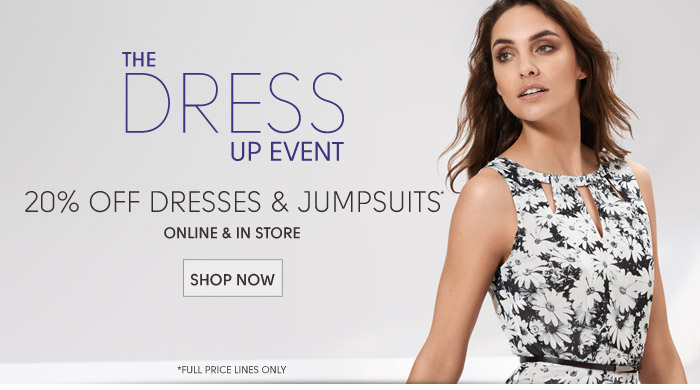 20% off dresses and jumpsuits...