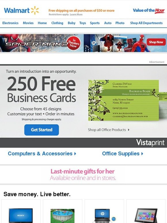 Walmart Vistaprint 250 FREE business cards