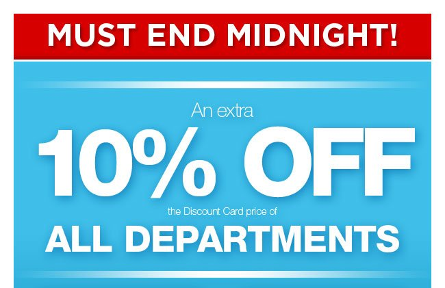 Extra 10% off all departments